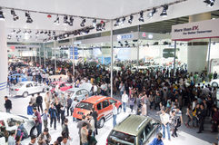 crowd  visitor at auto show hall Royalty Free Stock Photos