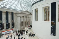 Crowd of visitors Inside the British Museum main Hall Stock Photos