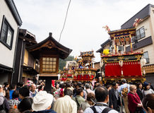 Crowd of visitors at Takayama Autumn Festival, Japan Royalty Free Stock Images