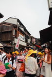 Crowd of visitors and tourists visit old town of Gion district, Kyoto, Japan Royalty Free Stock Photo