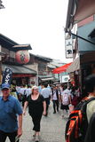 Crowd of visitors and tourists visit old town of Gion district, Kyoto, Japan Royalty Free Stock Image