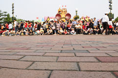 The crowd wait Disney parade Royalty Free Stock Images