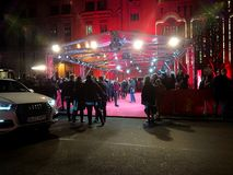 Crowd waiting for celebrities on the red carpet during Berlinale 2018. Berlin, Germany - February 23, 2018: crowd waiting for celebrities on the red carpet Royalty Free Stock Photos