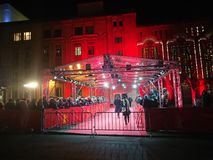 Crowd waiting for celebrities on the red carpet during Berlinale 2018. Berlin, Germany - February 23, 2018: crowd waiting for celebrities on the red carpet Royalty Free Stock Photography