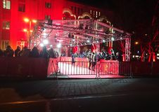 Crowd waiting for celebrities on the red carpet during Berlinale 2018. Berlin, Germany - February 23, 2018: crowd waiting for celebrities on the red carpet Royalty Free Stock Image