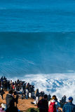 Crowd waiting for the surfers. NAZARE, PORTUGAL - DECEMBER 20, 2016: Crowd during the Nazare Challenge 2016 - Big Wave Tour #3 at Praia do Norte - Nazare Stock Photo