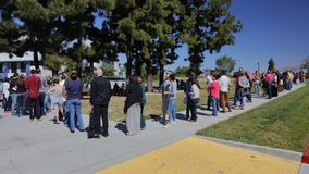Crowd waits for Hillary Clinton for Campaign Rally at SW College Royalty Free Stock Photos