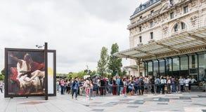 Crowd waits to enter Paris museum Stock Images