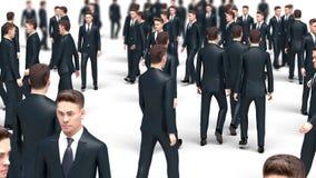Crowd of walking businessmen, 3d animation