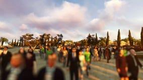 Crowd walking in campus, camera flying