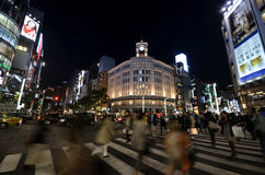 Crowd walking at Ginza street at night, tokyo Royalty Free Stock Photography