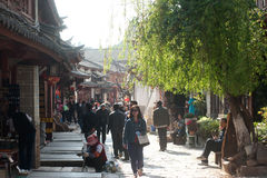 Crowd walking in Lijiang old town. Royalty Free Stock Photography