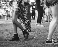 Crowd Walking in Music Festival Event stock images
