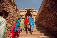 Crowd walking up the stairs to the temple. CHITTORGARH, INDIA: Crowd of women and children walking up the stairs to the temple. Chitaurgarh has population about Stock Photography