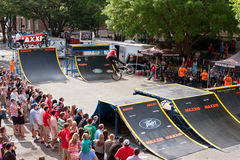 Crowd Watches BMX Pro Perform Ramp Tricks In Athens Competition Royalty Free Stock Photo