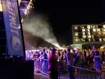 Crowd watches Griz performs on stage during night concert Stock Photography