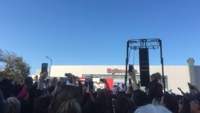 Crowd watches Katy Perry sing at Hillary Clinton for president rally Royalty Free Stock Photo