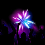 Crowd watching fireworks. Vector illustration of a crowd watching and cheering for fireworks show Stock Photography