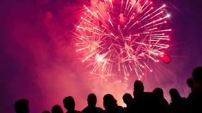 Crowd watching fireworks Royalty Free Stock Images