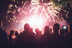 Crowd watching fireworks Royalty Free Stock Photography