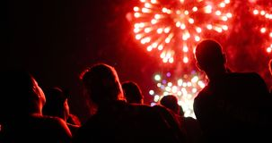 Crowd watching fireworks royalty free stock photo