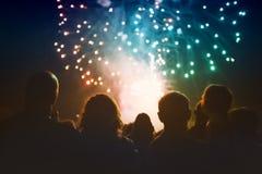 Crowd watching fireworks Royalty Free Stock Image