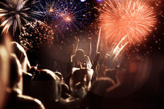 Crowd watching fireworks at New Year Royalty Free Stock Photography