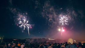 Crowd Watching Fireworks. 1080p. stock video