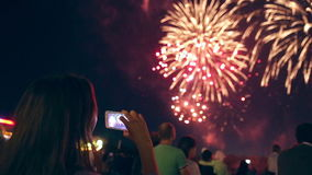 Crowd Watching Fireworks. 1080p. stock footage