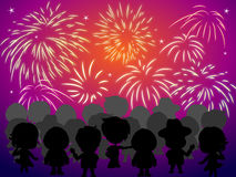 Crowd Watching Fireworks. Vector Illustration of a crowd of people watching fireworks Royalty Free Stock Photos