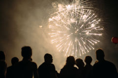 Crowd watching foreworks Royalty Free Stock Photo