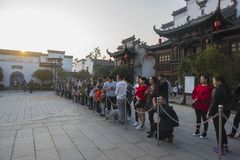 The crowd watching huang mei`s performance. Huangmei opera is seen every day in the wuhu village of wuhu, anhui Royalty Free Stock Images