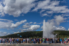Crowd watching Old Faithful Stock Photography