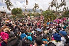 Crowd watching the reenacting of crucifixion in Ecuador Stock Photos