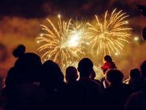 Crowd wathcing fireworks Royalty Free Stock Image