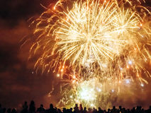 Crowd wathcing fireworks Royalty Free Stock Photos