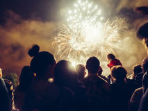 Crowd wathcing fireworks Royalty Free Stock Photography