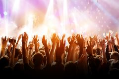 Free Crowd With Raised Hands On Music Concert Royalty Free Stock Photos - 147108558