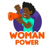 Crowd women feminist. One black young woman power feminist which keep megaphone and shout take part in protest for freedom rights women. Vector icon isolated Stock Photos
