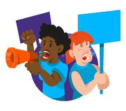 Crowd women feminist. Which keep a sign with a slogan and megaphone shout take part in protest for freedom rights liberation women. Vector icon illustration Stock Photo