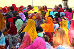 Crowd of women at Pushkar fair Royalty Free Stock Photo