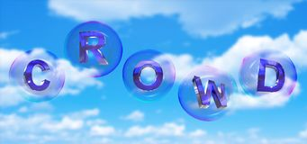 The crowd word in bubble. The crowd word in soap bubble on blue sky background,3d rendered Royalty Free Stock Photography
