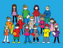 A crowd of young people vector illustration