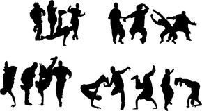 Crowd of young people dancing. Silhouette of boys and girls dancing on different hip hop style: Krump, Break dance, Old school etc Stock Image