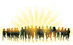 Running people. Crowd of young people running. Sport illustration Royalty Free Stock Images