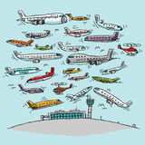 Crowded Airspace Royalty Free Stock Photography
