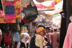 Crowded alley in Osh Bazaar Stock Image