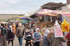 Crowded alley in Osh Bazaar, Kyrgyzstan Royalty Free Stock Photos