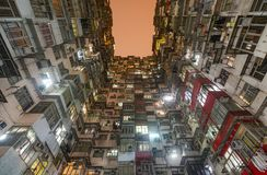 Crowded apartment homes in the Yick Fat, Yick Cheong, and Fok Cheong buildings at Montane Mansion royalty free stock photography