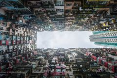 Crowded apartment view from bottom in Hong Kong Royalty Free Stock Photography